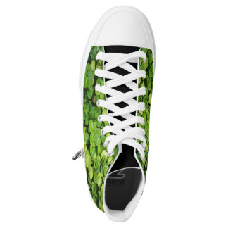Natural Green Leaves Plant High Top Shoes Printed Shoes
