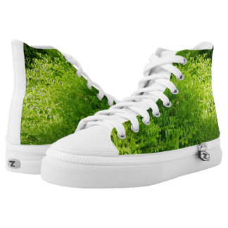 Natural Green Leaves Plant Square High Top Shoes Printed Shoes