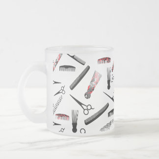 Natural hair red black frosted glass mug