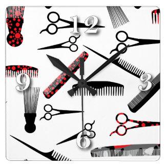 Natural hair red black square wall clock