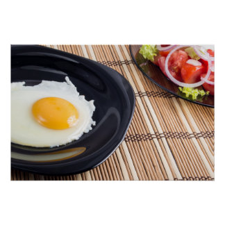 Natural homemade breakfast of fried egg and salad poster