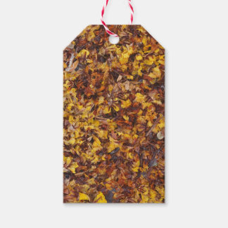 Natural leaf litter background gift tag