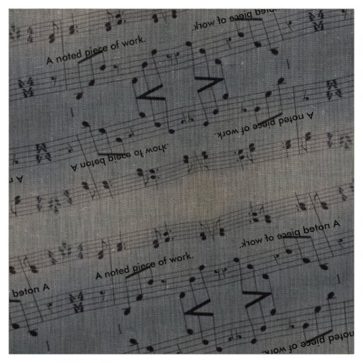 Natural Linen Fabric with music notes
