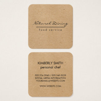 Natural Minimalist Brown Speckled Square Business Card