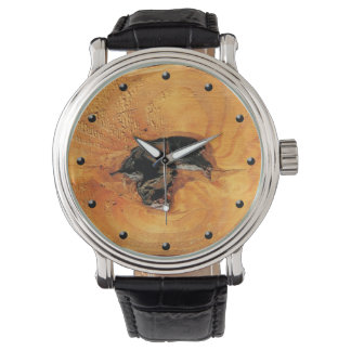 Natural orange wood with black hole unusual watch
