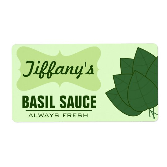 Natural Organic Basil Sauce Shipping Label