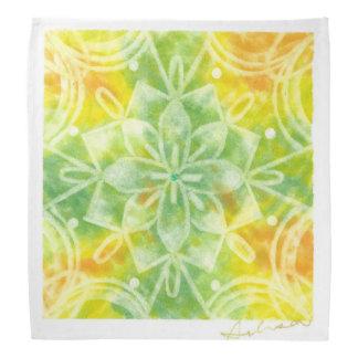 Natural oura yellow green mandala head kerchief