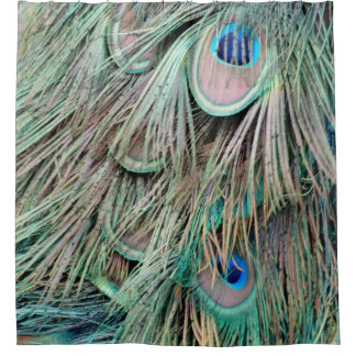 Natural Peacock Eyes Fluffy Feathers Shower Curtain