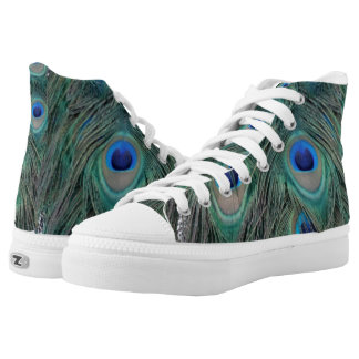 Natural Peacock Feather Eyes Colorful High Tops