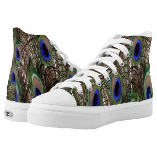 Natural Peacock tail feathers High Tops