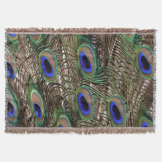 Natural Peacock  tail feathers with blue eyes Throw Blanket