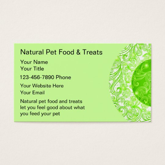 Natural Pet Food Business Cards