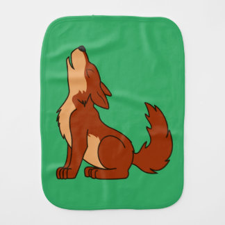 Natural Red Wolf Pup Howling Baby Burp Cloth