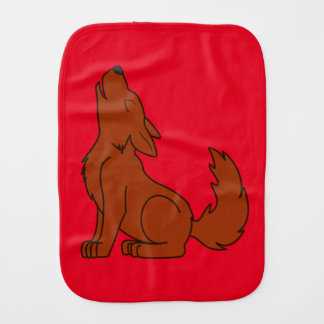 Natural Red Wolf Pup Howling Baby Burp Cloths