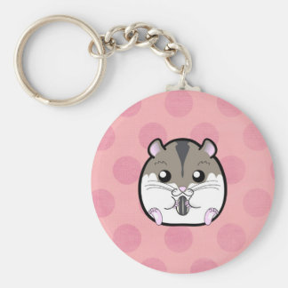 Natural Russian Dwarf Hamster Basic Round Button Key Ring