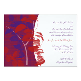 Natural Silhouettes: Red and Purple Leaf Design 13 Cm X 18 Cm Invitation Card