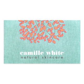 Natural Skincare Beauty Blue Turquoise Linen Look Business Card Template