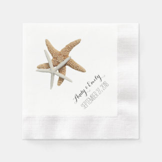 Natural Starfish Couple White Personalized Wedding Disposable Serviettes