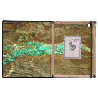 Natural turquoise vein in rough brown stone iPad covers