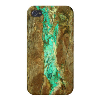 Natural turquoise vein in rough brown stone iPhone 4/4S cases