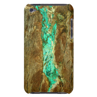 Natural turquoise vein in rough brown stone iPod Case-Mate case