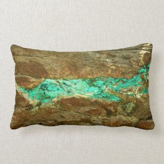 Natural turquoise vein in rough brown stone lumbar cushion