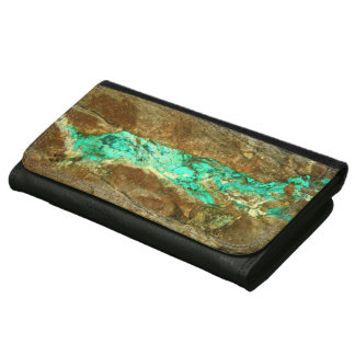 Natural turquoise vein in rough brown stone women's wallets