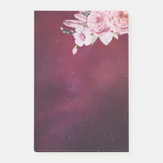 Natural Watercolor Boho Floral Burgundy Red Starry Post-it Notes