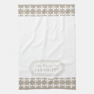 Natural   White Fleur de Lis Pattern Monogram Tea Towel