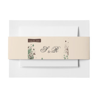 Natural Wonder in Ivory and Brown Wedding Invitation Belly Band