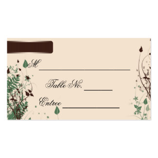 Natural Wonder in Ivory and Brown Wedding Place Ca Double-Sided Standard Business Cards (Pack Of 100)