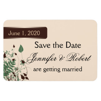 Natural Wonder in Ivory and Brown Wedding Save the Rectangular Photo Magnet