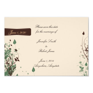 Natural Wonder Ivory Brown Wedding Save the Date 9 Cm X 13 Cm Invitation Card