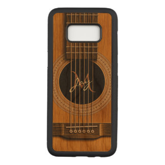 Natural Wood Acoustic Guitar Monogram Music Carved Samsung Galaxy S8 Case