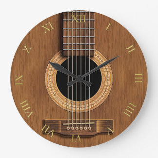 Natural Wood Look Acoustic Guitar Music Large Clock