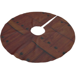 NATURAL WOOD PLANK IN BROWN BRUSHED POLYESTER TREE SKIRT
