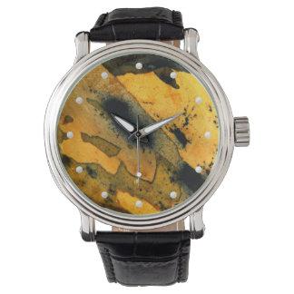 Natural yellow sumi-e jasper gemstone macro photo watch