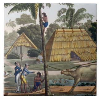 Naturalists question natives near Kupang, Timor, p Large Square Tile