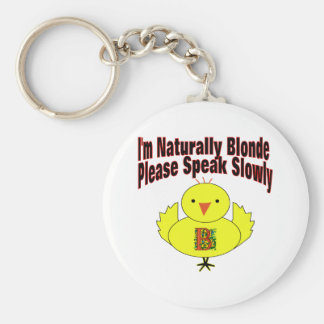 Naturally Blonde Chick Basic Round Button Key Ring