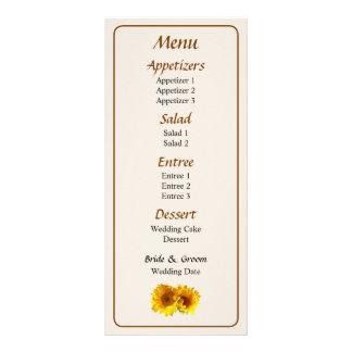 Naturally Blonde Sunflowers Wedding Menu... Rack Card