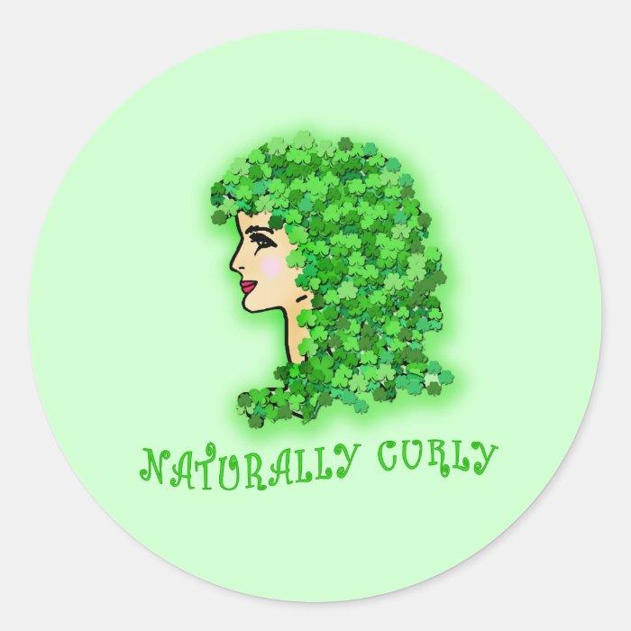 Naturally Curly! With Irish Shamrocks Round Sticker