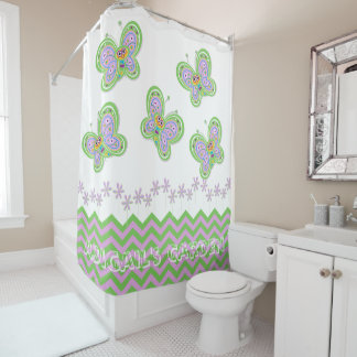 Naturally Fresh Butterfly Garden Whimsy Custom Shower Curtain