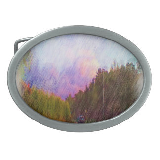 Nature and car oval belt buckle