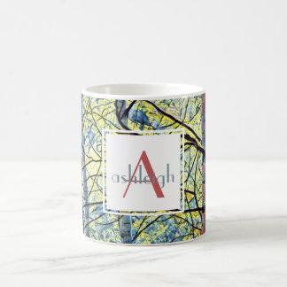 Nature Art; Aspens (blue/yellow)  Name/Initial Coffee Mug