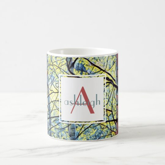 Nature Art; Aspens (blue/yellow)  Name/Initial Coffee Mug
