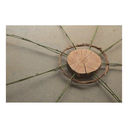 Nature Art Sculpture of Wood Bamboo Vines Oblique