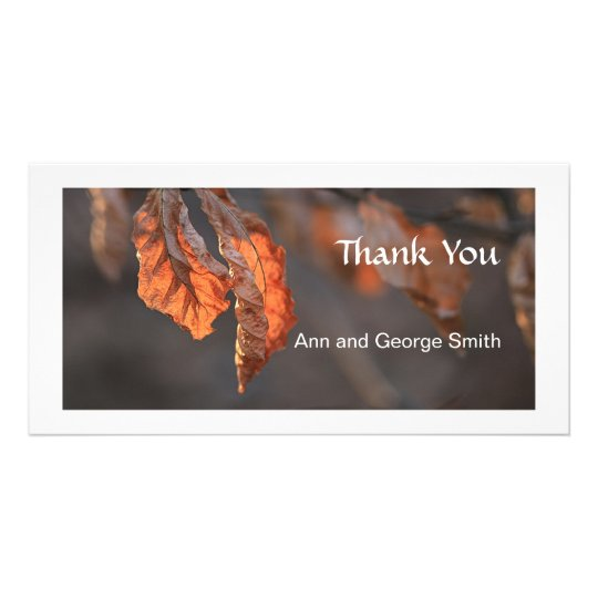 Nature autumn leaves Thank You photo card