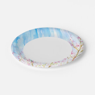 Nature background 7 inch paper plate