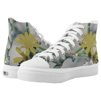 Nature Blooming Plant with Yellow Flowers Printed Shoes