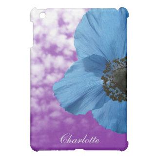 Nature Blue Poppy Flower Purple Sky with Monogram iPad Mini Covers